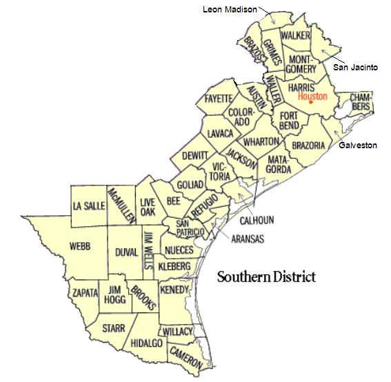 Map of USDC Southern District of Texas - Corpus Christi Division